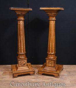 Paar Regency Sockel stehen Intarsien Inlay Spalten