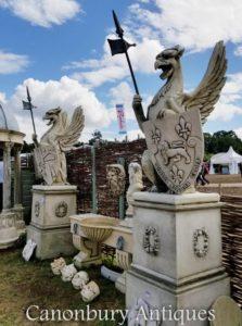 Paar Riesen Stein Griffin Gryphons Englisch Garten Statue