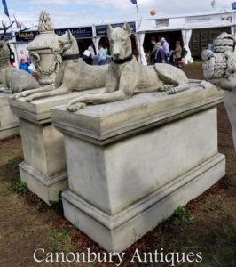 Paar Riesenstein Kingsdale Hounds Däne Jagdhund Garten Statuen