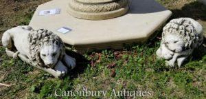 Paar Stein Recumbent Lions nach Canova Garden Statue