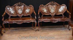 Paar antike chinesische antike Sitze Liebe Perlmutt Bänke