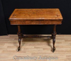 Victorian Burr Walnut Beistelltisch Spieltisch