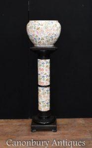 Victorian Floral Porzellan Pflanzer auf Säule Sockel stehen