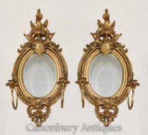 Paar Französische Louis XVI vergoldete Girandoles Spiegel Candelabras