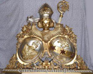 Vergoldetes Hand geschnitztes russisches Wappen Skulptur Eagle