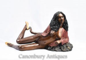 Bronze 70 Sexy Lady Semi Nude Figur Erotik Kitsch