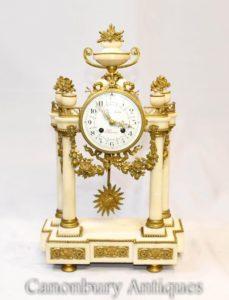 Französisches Reich Marmor Mantel Uhr Ormolu Fixtures Klassisch