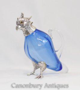 Glas Papagei Dekanter Jug Victorian Silver Plate