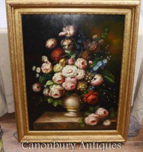 Großes viktorianisches Blumen-Anzeige-Stillleben-Ölgemälde