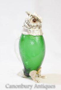 Victorian Silver Plate Glas Dekanter Krug Hawk Eagle