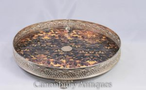 Viktorianische Silberplatte Serviertablett Faux Tort