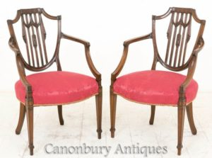 Hepplewhite Arm Chairs - Antik Mahagoni um 1900