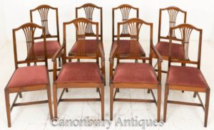 Set Hepplewhite Dining Chairs in Mahagoni