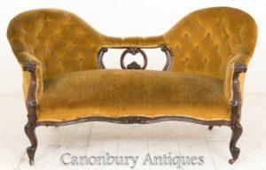 Viktorianische Sofa-Couch - Miniatur zurück 1860