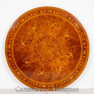 Antiker Mahagoni-Esstisch - Intarsien-Inlay-Mitteltische