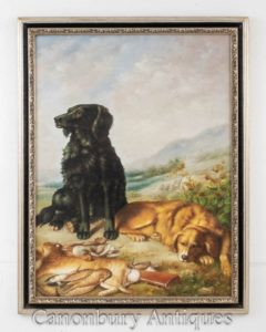 Dog Hunt Oil Painting Scene - Englischer Retriever und Hasenjagd