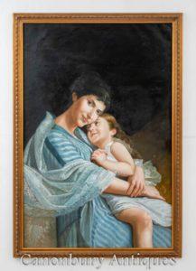 Französisches Ölgemälde Mutter und Kind lieben Porträt