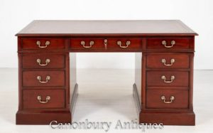 Georgian Pedestal Desk Mahagoni Büro Antiquitäten