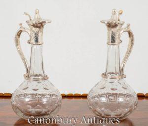 Paar viktorianische Rotweinkrüge Glas Glas Silberplatte Krug 1890 geschnitten