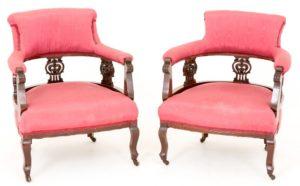 Paar viktorianische Wannenstühle Arm circa 1890