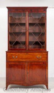 Regency Bücherregal Secretaire Schreibtisch Antik Mahagoni