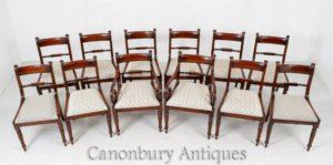 Set Regency Esszimmerstühle - Mahagoni Antike Möbel