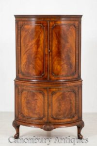 Victorian Mahogany Drinks Cabinet - Bow Front Bow Corner Cocktailkiste