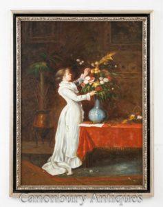 Viktorianisches Ölgemälde Blumen arrangieren Mädchen - Blumenporträt