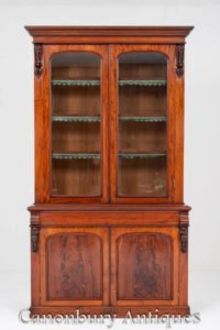 Viktorianisches Bücherregal Glasvitrine glasiert um 1860