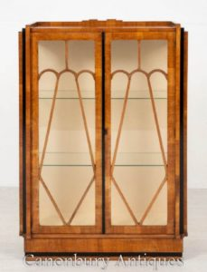 Vintage Art Deco Vitrine Glasiertes Bücherregal Antik 1930