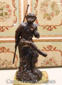 Antike Bronze viktorianischen Affen Statue-Affen Primaten Casting 1880
