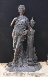 Big Bronze Classical Maiden Statue - Römische Gartenfigur