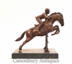Englische Bronze Steeplechase Horse Jockey Statue - Springpferd