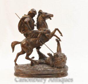 Französische Bronze Arab Horse Horse Lion Kill von Barye Skulptur