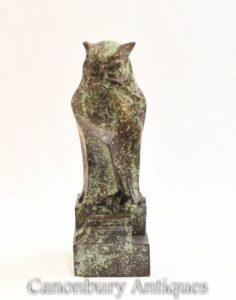 Französische Bronze-Eulenstatue - Greifvogel Verdis Gris Tawny