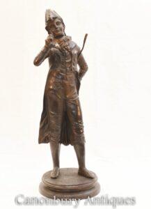 Französische Bronze Flaneur Statue - Dandy Figur