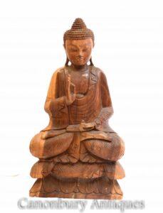 Geschnitzte tibetische Buddha-Statue - Buddhismus Lotus Pose Art