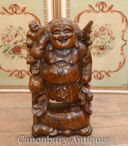 Glückliche Buddha-Statue - Handgeschnitzte buddhistische Kunst