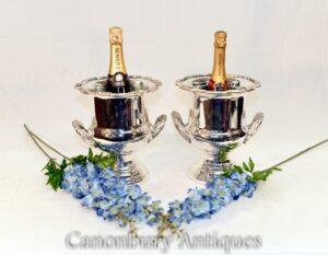 Paar Jugendstil Silberplatte Urnen - Wein Champagner Kühler