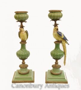 Paar Papagei Porzellankerzen Kandelaber