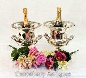 Paar Silberplatte Champagner Eimer - Campana Urne Weinkühler