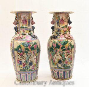 Paar chinesische Kantonsvasen - kantonesische Urnen