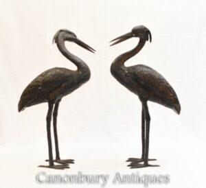 Paar japanische Bronzekraniche - Vogelgartenstatue