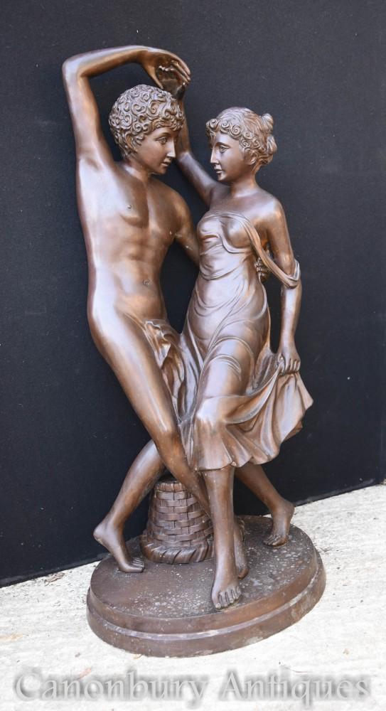 Paar klassische Bronzeliebhaber-Statue - italienisches Kunstgarten-Casting