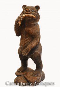 Schwarzwaldbär und Lachs geschnitzte Statue Brown American Hunting Lodge