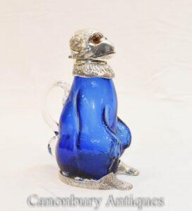 Silberplatte Affe Glas Krug Dekanter