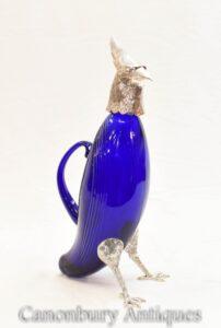 Silver Plate Hawk Dekanter - Blue Glass Bird