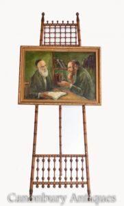Ölgemälde Jude und Rabbi Porträt Antike jiddische jüdische Kunst 1930