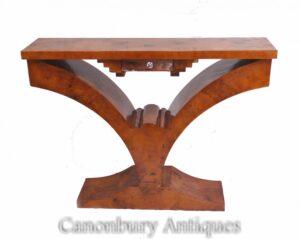 Art-Deco-Hallentisch - Möbel aus Walnusskonsolen