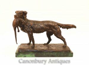 Französische Bronze-Hundejagdszene - Fasanensetzerjagd nach Moigniez